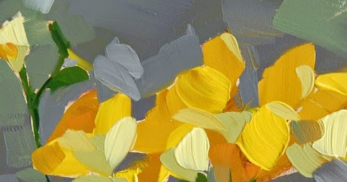 yellow freesia painting